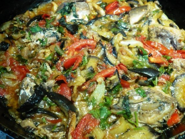 Теплая рыбная закусочка с овощами