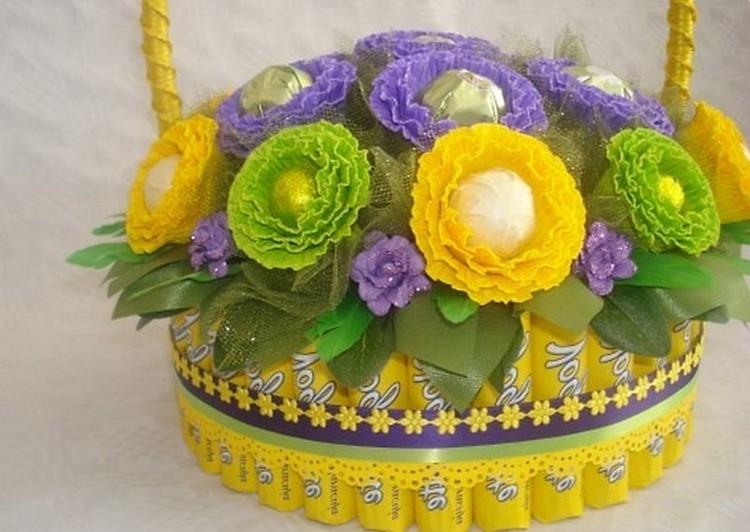 Подарки цветы в корзине своими руками из бумаги, цветов