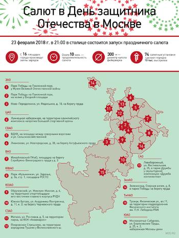 Где в Москве можно будет посмотреть салюты 23 февраля