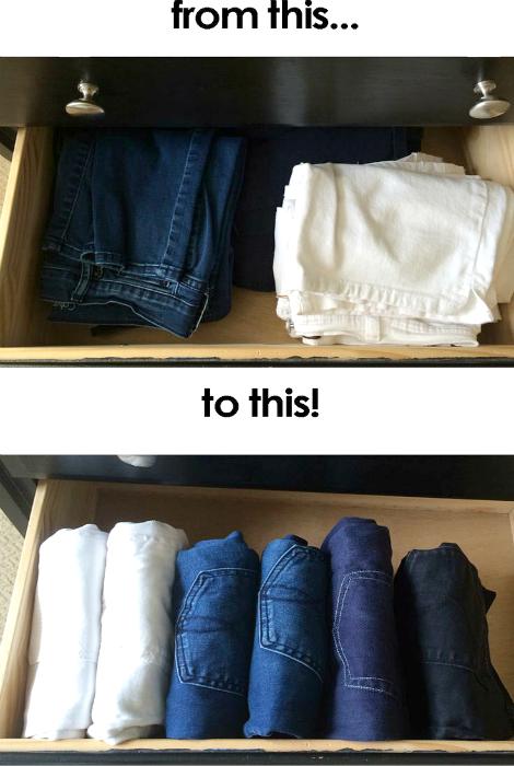 Хранение джинсов.