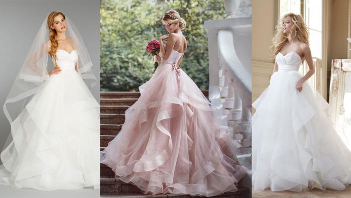 Шъём юбку для вечернего или свадебного платья с воланами