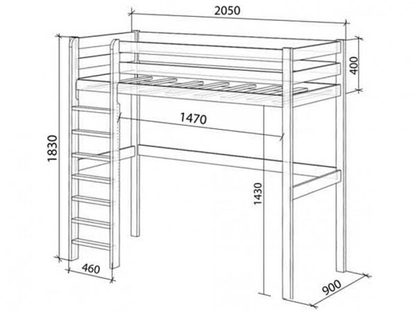 размеры кровати чердака