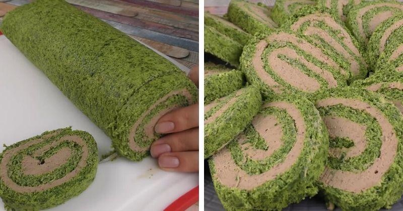 Очень аппетитный, красивый и простой в исполнении зеленый рулет