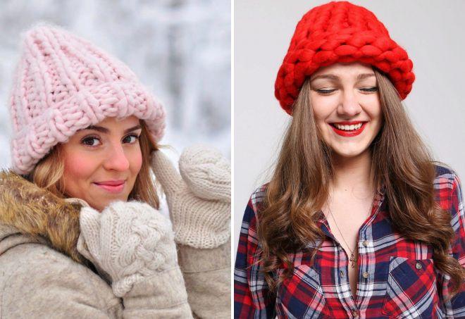 шапки зефирки крупной вязки