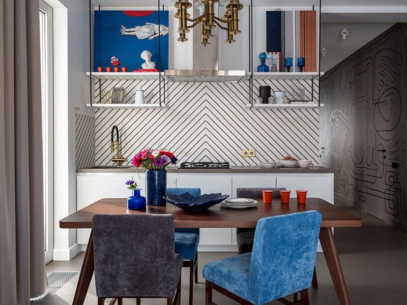 смелые цвета в интерьере кухни