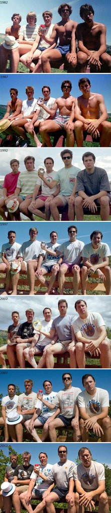 Every Five Years From 1982-2012, Five Friends Take The Same Photo At Their Cabin At Copco Lake In California