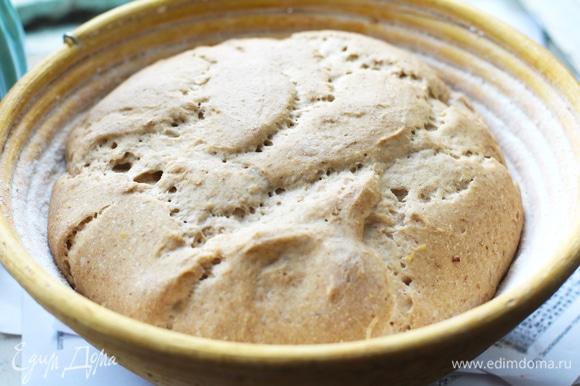 Тесто накрыть, оставить в теплом месте до увеличения в 2 раза (примерно 2 часа).