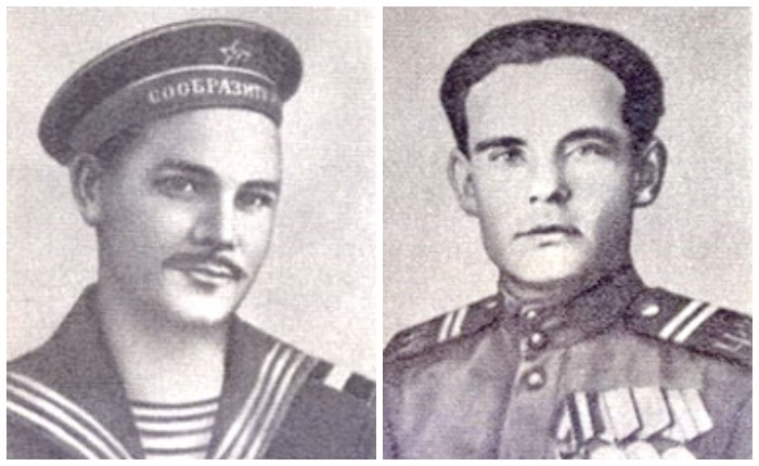Слева: Валентин Ходырев, подорвавший танк со словами «Я – севастополец и встречу врага по-севастопольски»; справа – Кирилл Бочкович