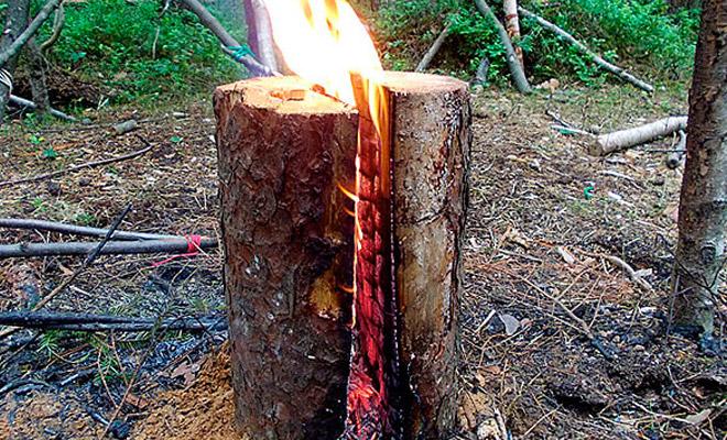 Делаем финскую свечу из полена: огонь горит долгие часы