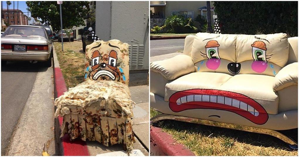 Притягивающий внимания стрит-арт на предметах мебели, ставших ненужными