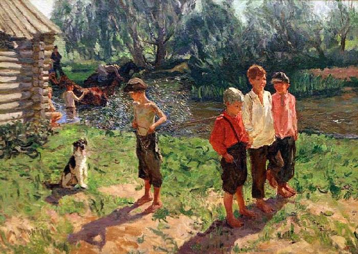 «Тройка». Ребятишки у речки». Автор: А.А.Пластов.
