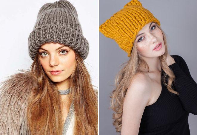 модные шапки крупной вязки