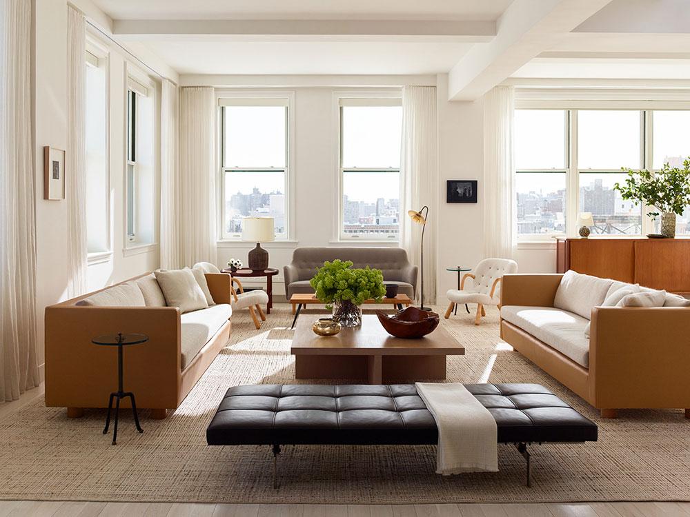 Чистые линии и теплые тона: прекрасный пентхаус в районе Сохо в Нью-Йорке американский стиль