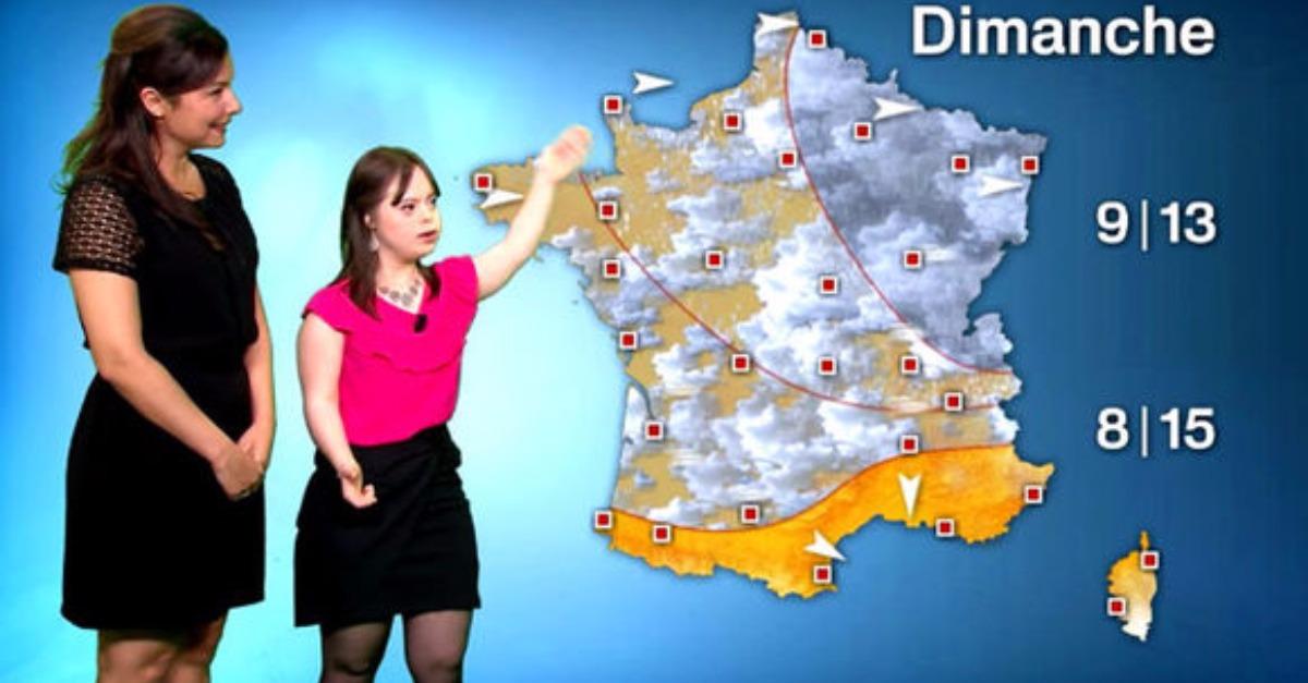 Девушка с синдромом Дауна выступила с прогнозом погоды на крупном телеканале Франции