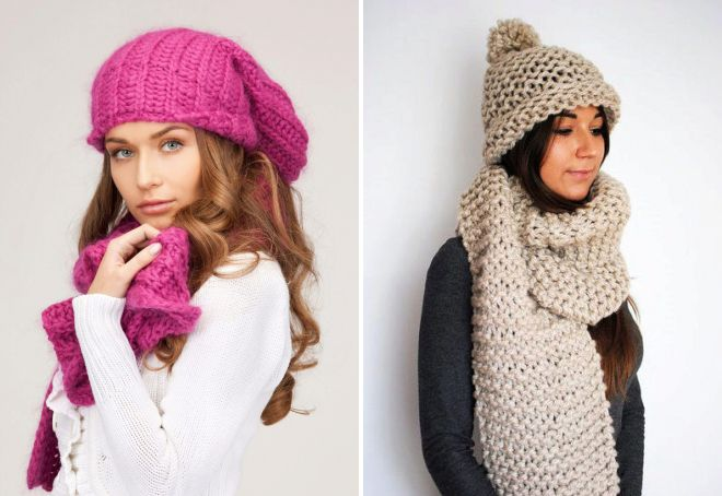 шапка и шарф крупной вязки