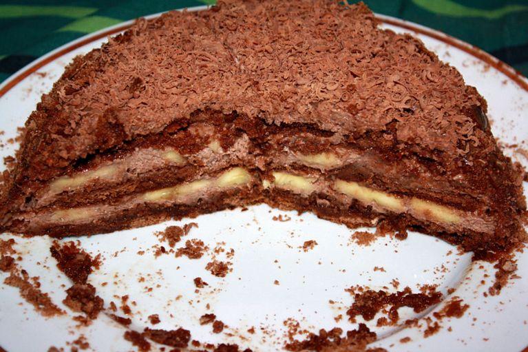 Нежный бананово-пряничный торт без выпечки