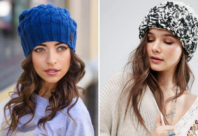 женские шапки крупной вязки