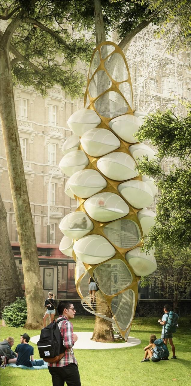 """Это сеть «деревьев-хозяев» в парках и зеленых насаждениях, состоящих из """"бункеров""""со встроенными лестницами и услугами, которые предназначены специально для индивидуальных личных «палаток», для отдыха архитектура, интересное, концептуальные фантазии, фабрик аидей"""