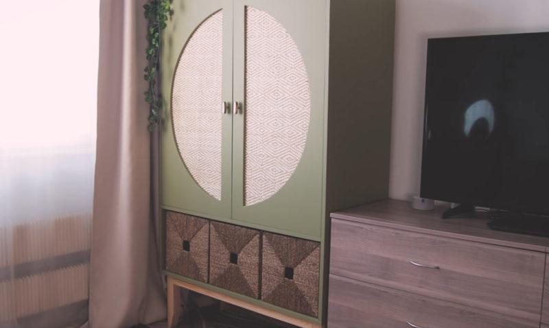 Дизайнерский шкаф своими руками из фанеры и ротангового полотна для дома и дачи,мастер-класс,мебель