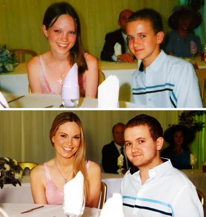 На свадьбе родственников.