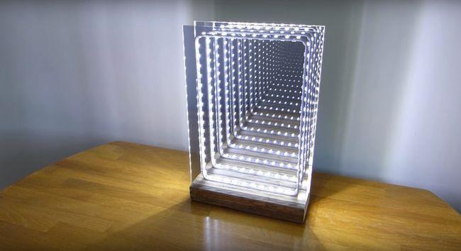 Как сделать современный светодиодный иллюминатор или ночник с эффектом бесконечного зеркала