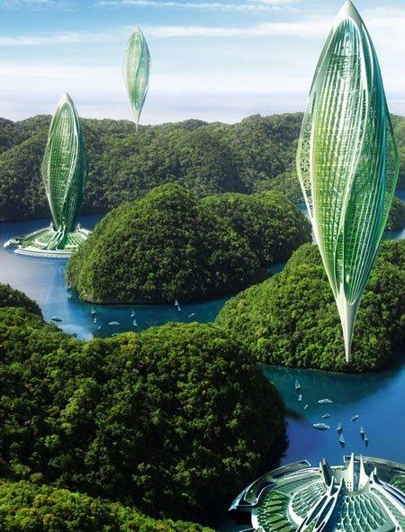 Бельгийский архитектор Винсент Каллебаут разработал концептуальную транспортную систему, в которой будут задействованы дирижабли, работающие на водорослях архитектура, интересное, концептуальные фантазии, фабрик аидей