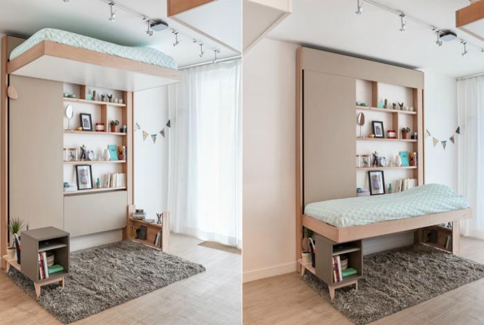 Подъемная кровать в интерьере небольшой комнаты.