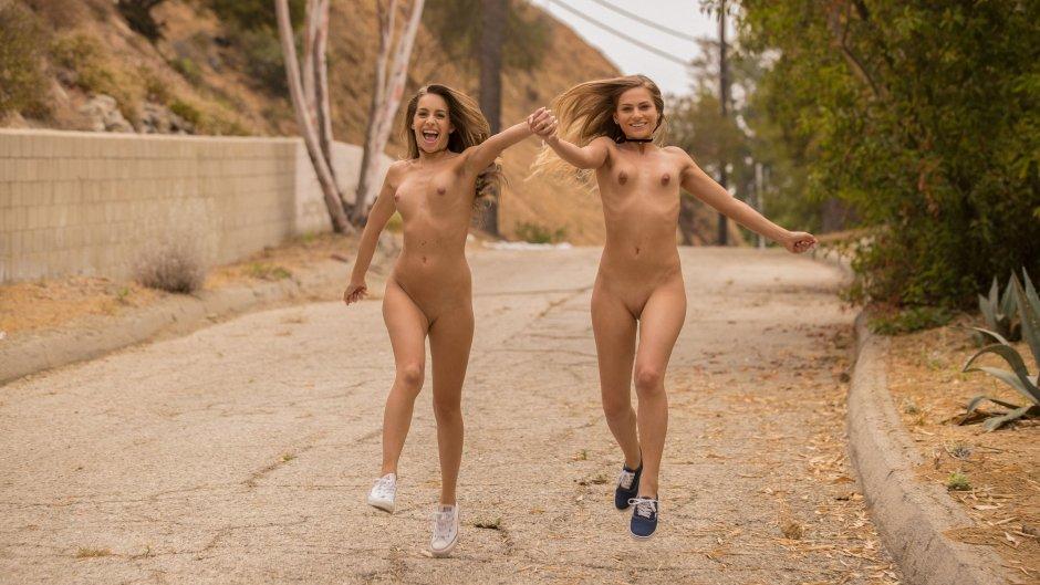 Girl running outside naked