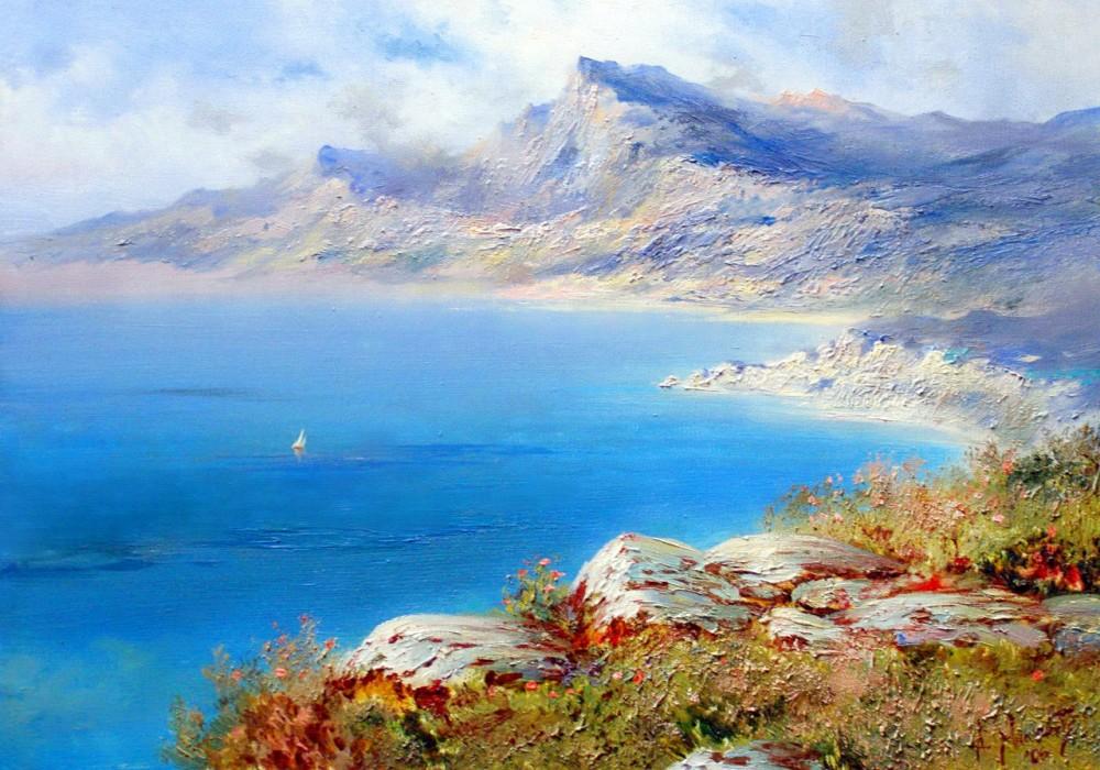 Картина с горами и морем