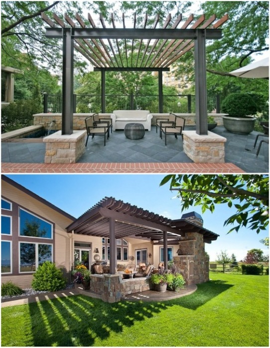 Оригинальные беседки, которые не имеют сплошной крыши станут идеальным местом для отдыха только в теплое время года и в хорошую погоду. | Фото: domnomore.com.