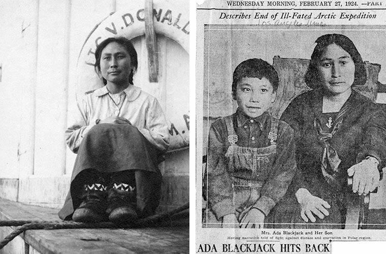 Слева: Ада Блэкджек на борту шхуны «Дональдсон» 19 августа 1923 года. Справа: вырезка из газетной статьи, опубликованной после возвращения домой. На фото — Ада и ее сын Беннетт Ада Блэкджек, арктика, интересно, история, познавательно, факты