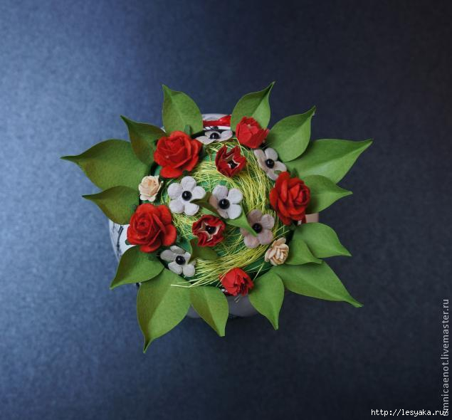 Вазон с цветами декупаж