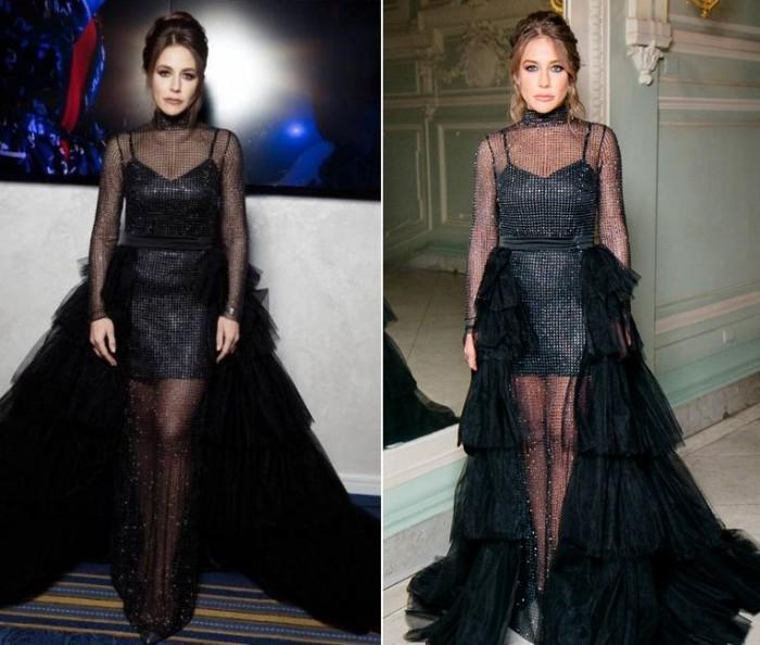 Барановская вышла в свет в проверенном ранее образе, повторив не только платье, но и макияж с укладкой