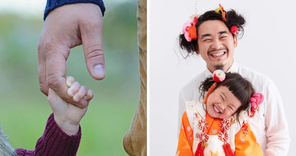 Отец отращивал свои волосы 2 года, чтобы сделать одинаковые прически со своей дочкой