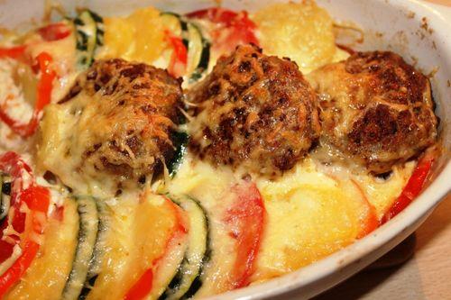 фрикадельки с картошкой и различными овощами