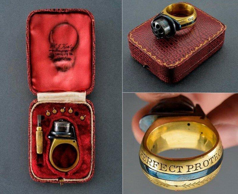 Перстень-пистолет образца 1870-х годов. Его называли «Идеальный защитник».  история, ретро, фото