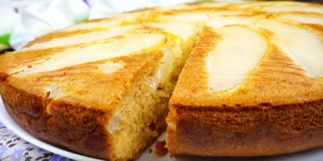 Рецепты пирогов с грушами: Перевёрнутый пирог с грушами на кефире
