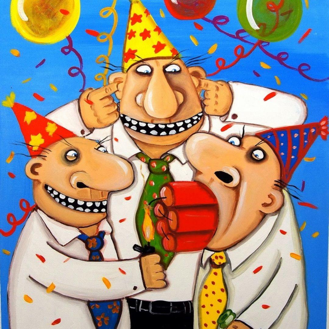 открытка после гулянки дня рождения с приколом полуподвале, обстановка