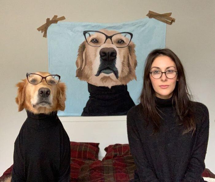 Собака, копирующая хозяйку, стала звездой интернета Урсула Эйтчисон, Хьюго, в мире, домашний питомец, животные, люди, милота, собака