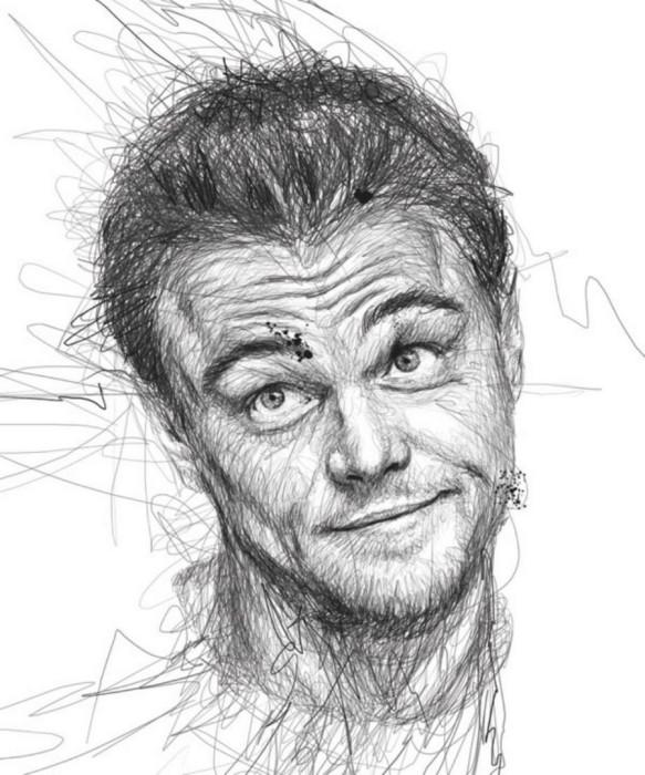 Эмоциональные портреты знаменитостей нарисованные каракулями. Автор: Vince Low.