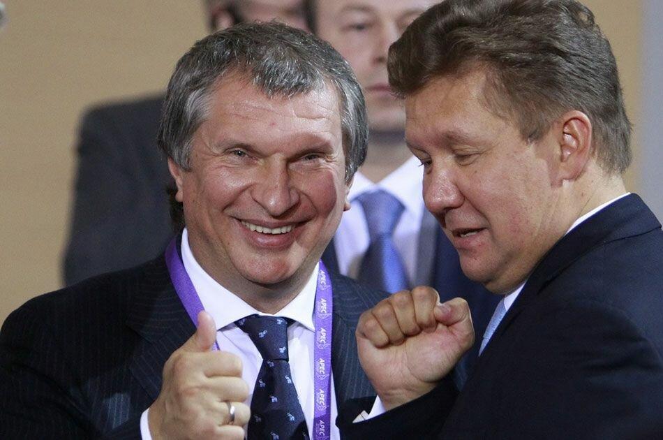 Главы Роснефти и Газпрома: Игорь Сечин и Алексей Миллер   фото: Яндекс.Картинки