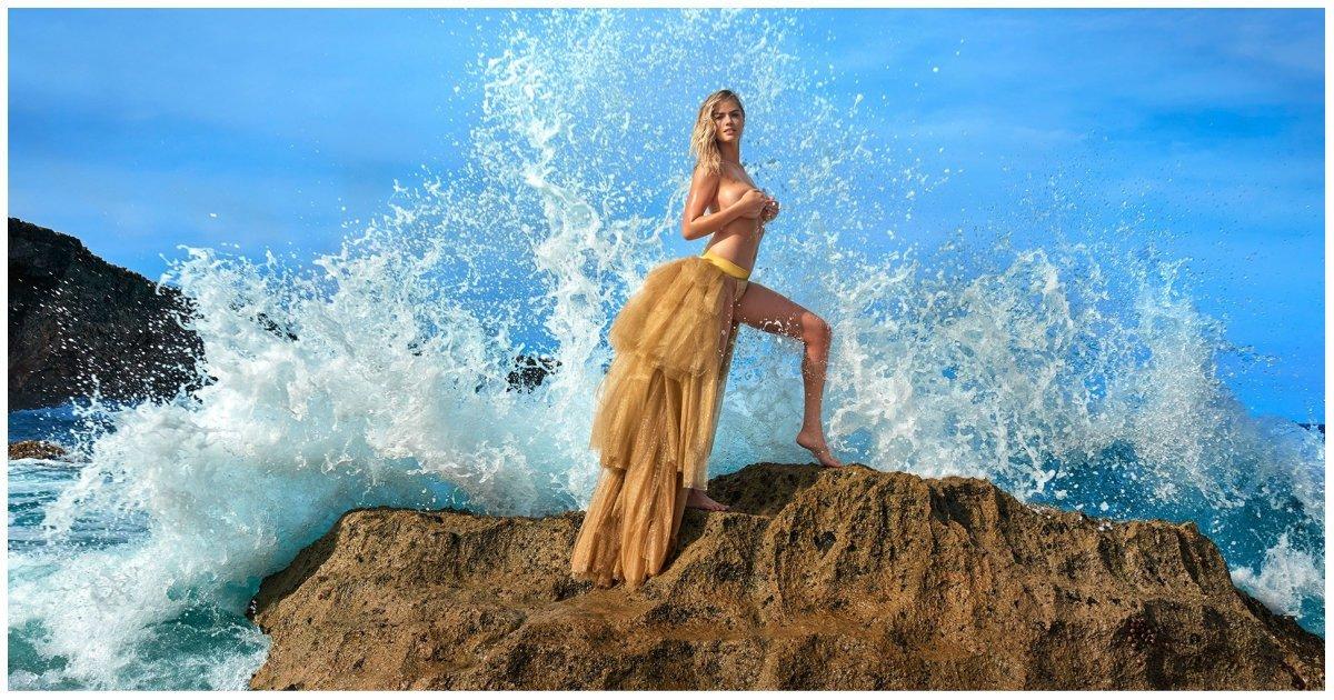 Модель Кейт Аптон свалилась в море во время откровенной фотосессии видео, знаменитости, модель, неудача, падение, прикол, фейл, фотосессия