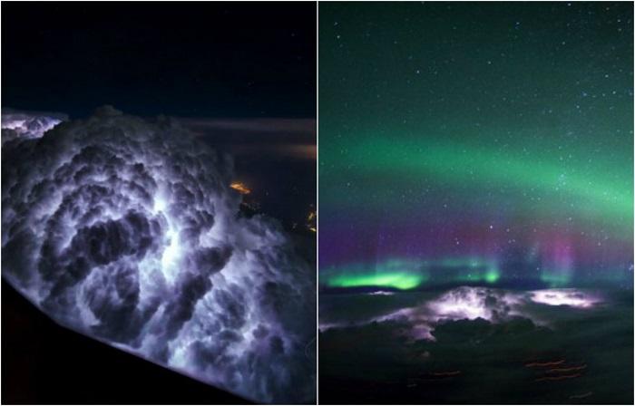 Пилот самолёта выложил в Сеть фото штормовых облаков, снятых на высоте 10 000 метров...