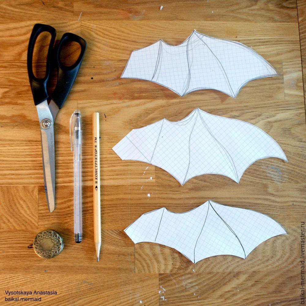 Делаем крылья летучей мыши из кожи для ботильонов