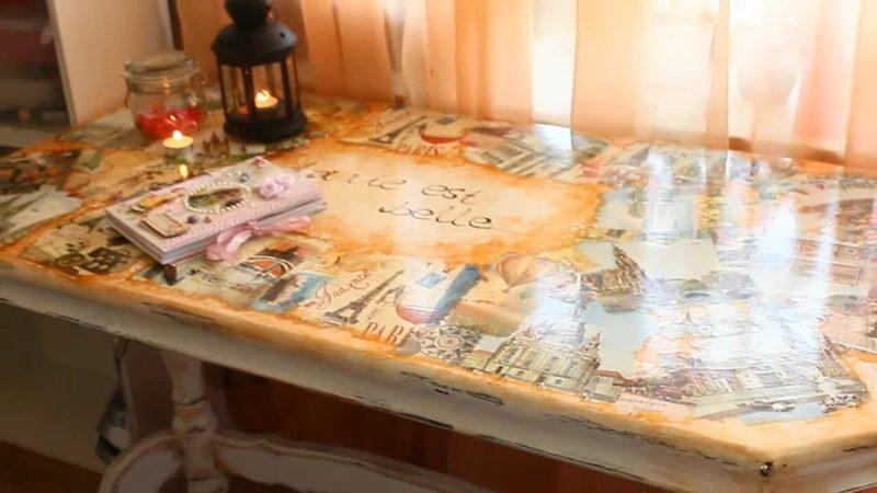 Произведение искусства из старого письменного стола