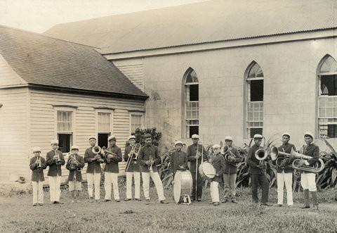 Молокаи, Гавайт, 1907 г. Оркестр прокаженных играет на празднике в честь Дня независимости 4 июля. джек лондон, история, фото
