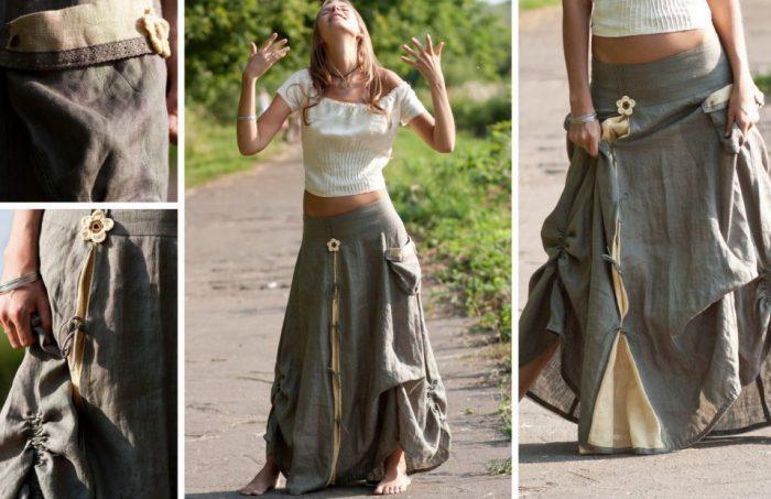 Удобная, длинная юбка - бохо-стиль