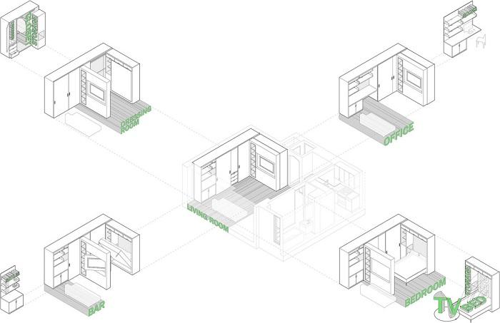 Квартира-трансформер на Манхэттене. Схема.