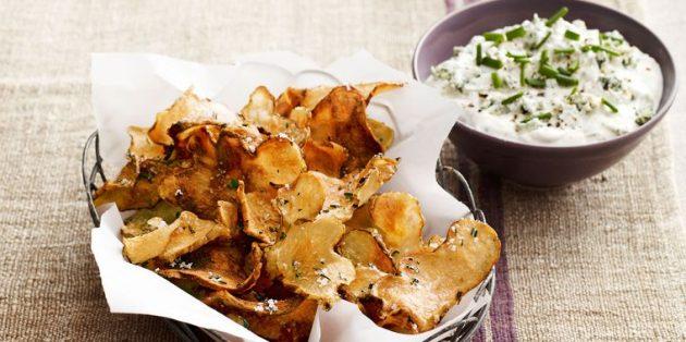 Топинамбур рецепты: Чипсы из топинамбура с тёплым сырным соусом