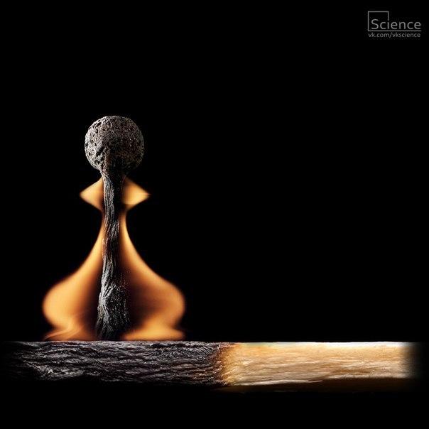 Фото-арт из горящих спичек